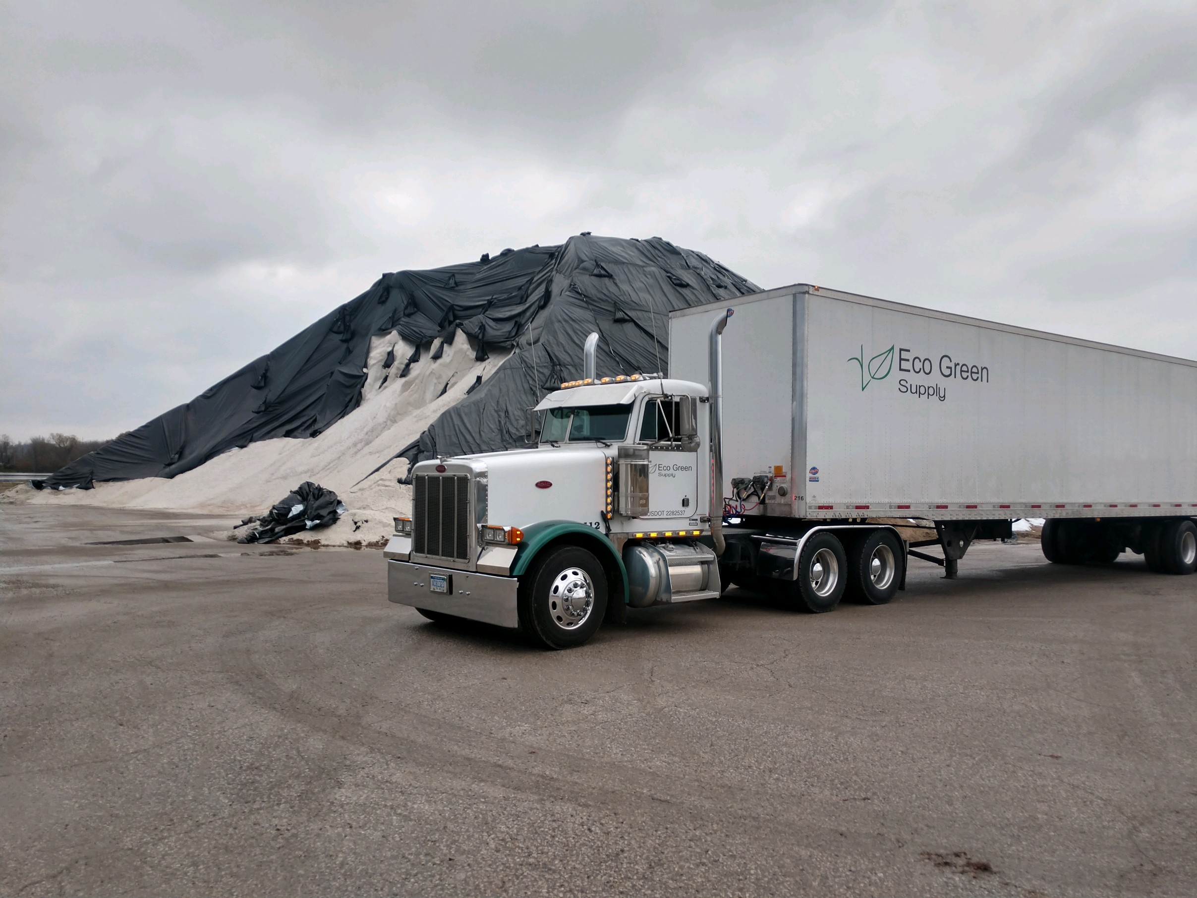 Our Semi next to our Bulk Salt pile