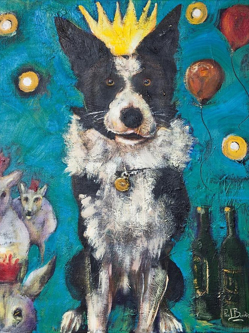 Party Animal 'Collie Wobbles' Greeting card and envelope