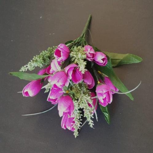 בוקט מיני טוליפ פוקסיה-פרחי משי לעיצוב הבית