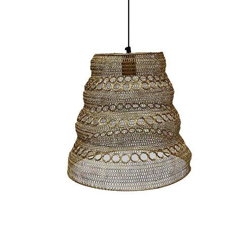 מנורה מעוצבת חוטי רשת - קונוס עיגולים זהב