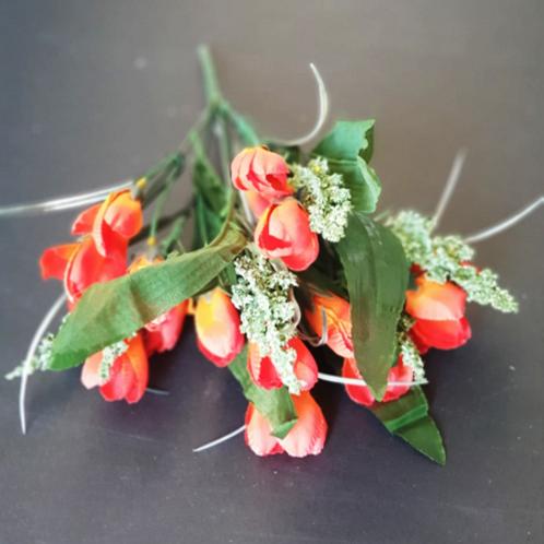 בוקט מיני טוליפ כתום-פרחי משי לעיצוב הבית