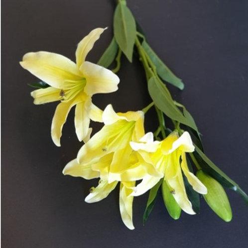 ענף שושן צחור צהוב -פרחי משי לעיצוב הבית