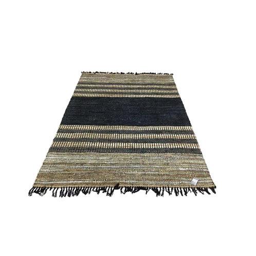 שטיח גדול- עור וכותנה שחור