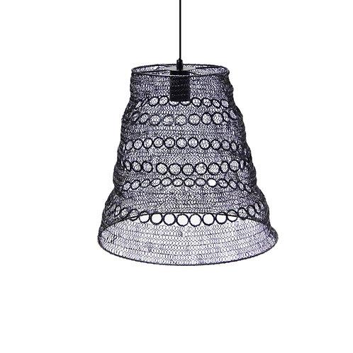 מנורה מעוצבת חוטי רשת - קונוס עיגולים שחור