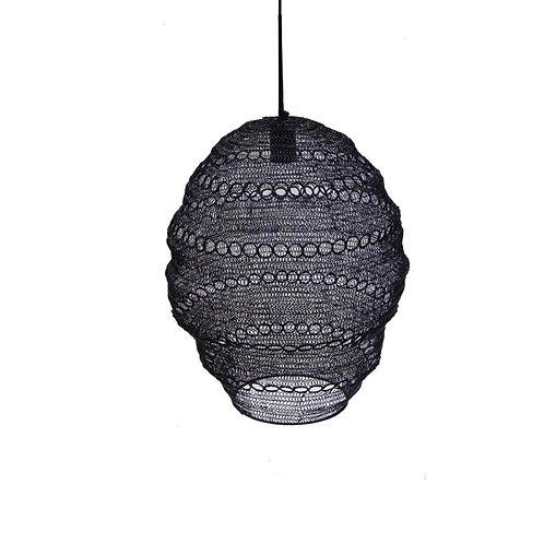 מנורת חוטי רשת עם דקורציית עיגולים בצבע שחור