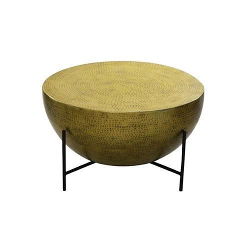 שולחן חצי עיגול מבראס רקוע בעבודת יד, רגלים שחורות