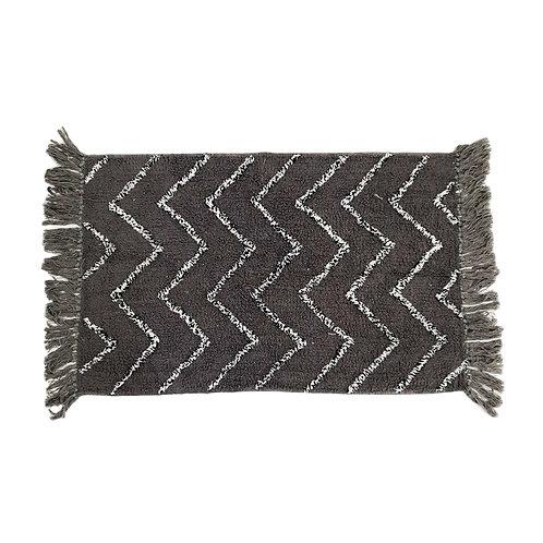 שטיח אמבטיה רקע אפור עם פסים אלכסוניים שחור/לבן