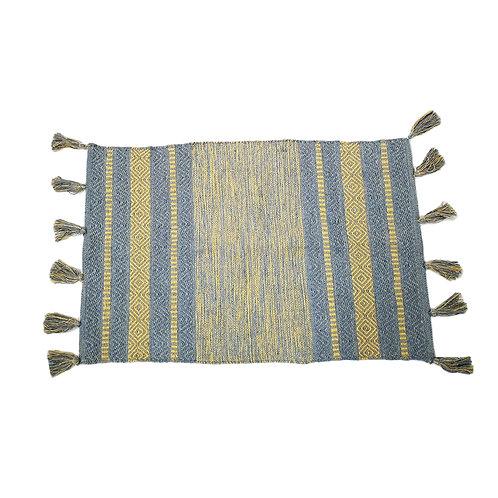 שטיח כותנה עם פרנזים צבעוני