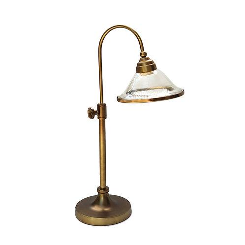"""מנורת שולחן מתכווננת מוזהבת- """"איתן"""" אהיל זכוכית ופס זהב"""