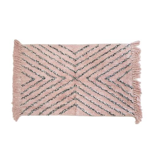 שטיח מקלחת ורוד פודרה עם פסים אפורים