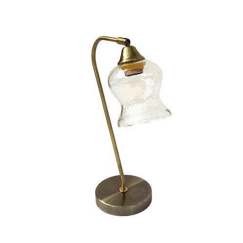 """מנורה שולחנית- """"שלומית"""" זרוע אלכסונית אהיל זכוכית שקופה"""