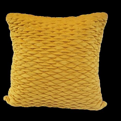 כרית נוי אפקט מכווץ- צהוב חלמוני