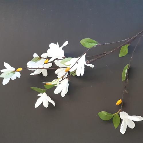 ענף פריחת שקדיה לבן - פרחי משי לעיצוב הבית