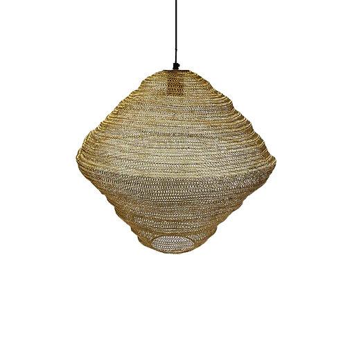 מנורת סביבון חוטי רשת מתכתיים בצבע זהב