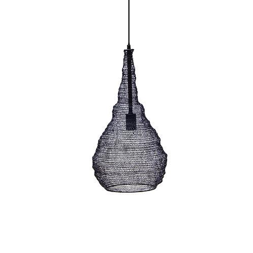 מנורה מעוצבת חוטי רשת - מבנה אגסי - שחור