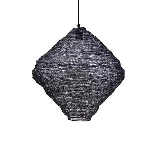 מנורת סביבון חוטי רשת מתכתיים בצבע שחור
