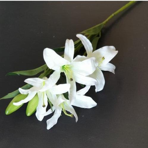 ענף שושן צחור לבן-פרחי משי לעיצוב הבית