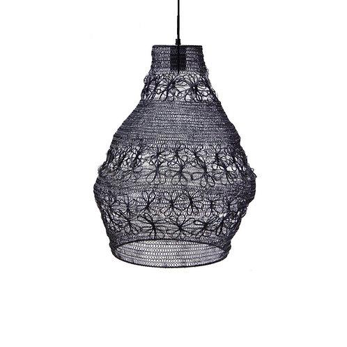 מנורה מעוצבת חוטי רשת - מבנה דלעת- שחור
