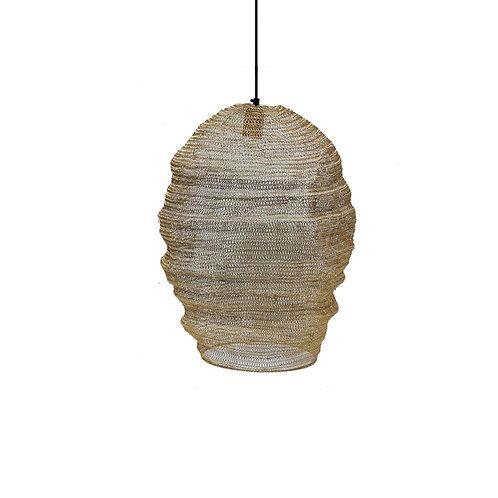 מנורת חוטי רשת מתכתיים בצבע זהב