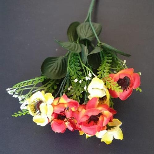 ענף כלניות מיני צהוב כתום-פרחי משי לעיצוב הבית