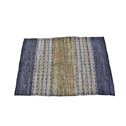 שטיח גדול- עור וכותנה כחול