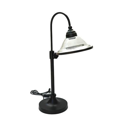 """מנורת שולחן מתכווננת-""""איתן"""" אהיל שקוף ופס שחור"""