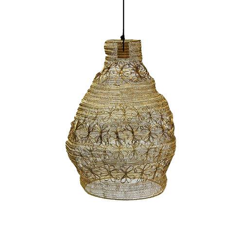 מנורה מעוצבת חוטי רשת - מבנה דלעת- זהב