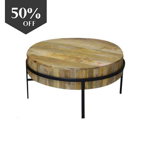 שולחן עץ מנגו ורגלי מתכת