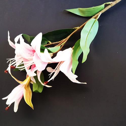 ענף ליליות סילקון ורוד -פרחי משי לעיצוב הבית