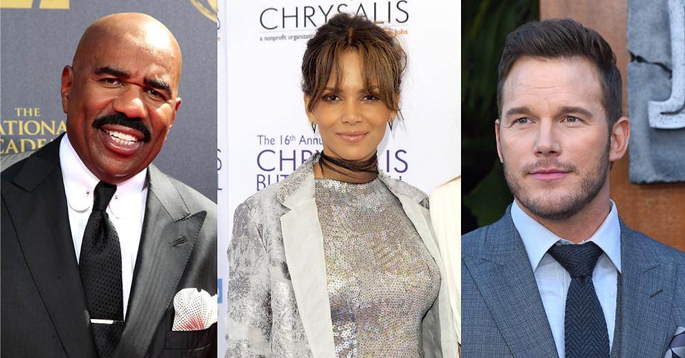 Steve Harvey, Halle Berry, Chris Pratt