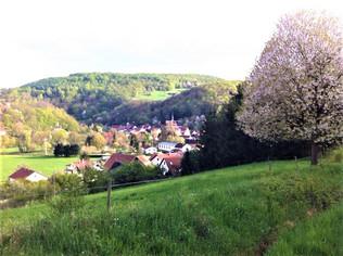 Blick von der Grundschule ins Dorf