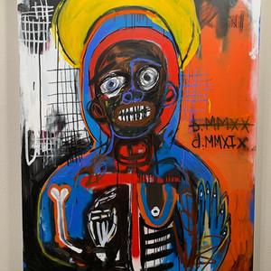 """Reborn c. 2021 30W 48H 2D """" ➕Acrylic, spray paint, oil pigment paint stick, soft pastel, charcoal // canvas"""