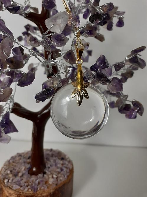Collier pendentif rond Cristal de Roche extra