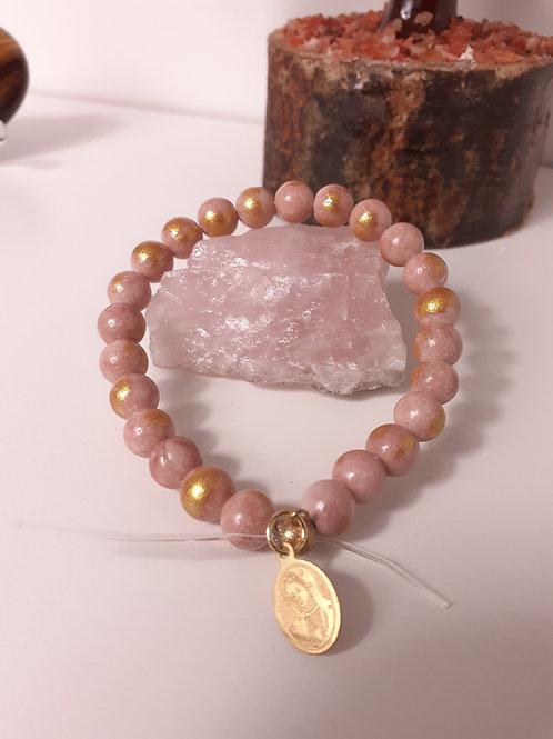 Bracelet Jade Mashan rmbeige rosé poudre d'or