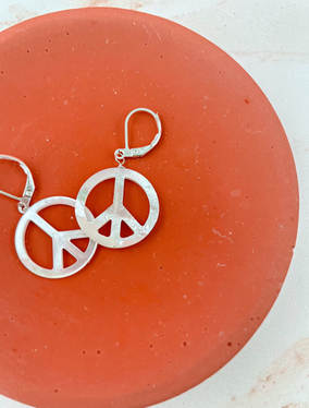 Mother of Pearl Peace Sign Earrings