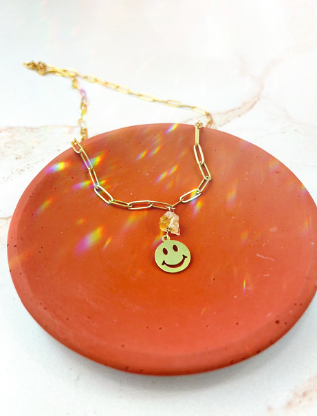 Smiley Face Citrine Necklace
