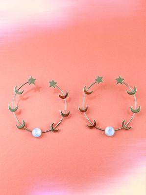 Celestial Moonstone Hoop Earrings
