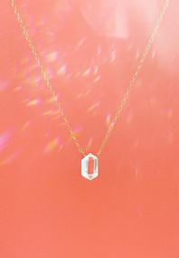 Diamond Cut Quartz Necklace