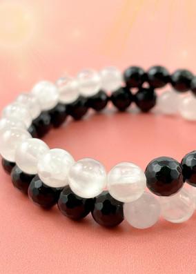 Balance Bracelet - Selenite and Black Tourmaline