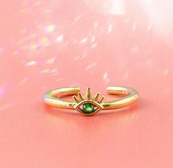 Dainty Evil Eye Emerald Zircon Ring