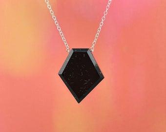 Black Tourmaline Shield Necklace