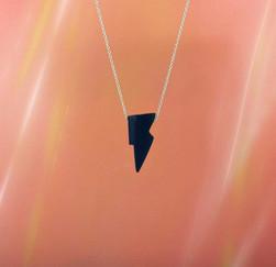 Onyx Lightning Bolt Necklace