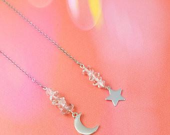 Herkimer Diamond Celestial Ear Threaders