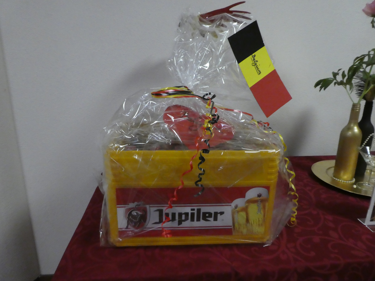 Basket of Belgian goodies plus crate of Belgian beer