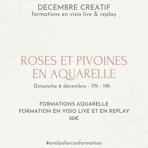 Formation Aquarelle Roses et Pivoines