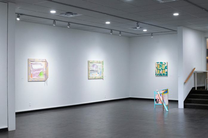 Installation shot from 2020 solo exhibition, Mooshu, Donkey, and the Floating World(l)ds at George Caleb Bingham Gallery