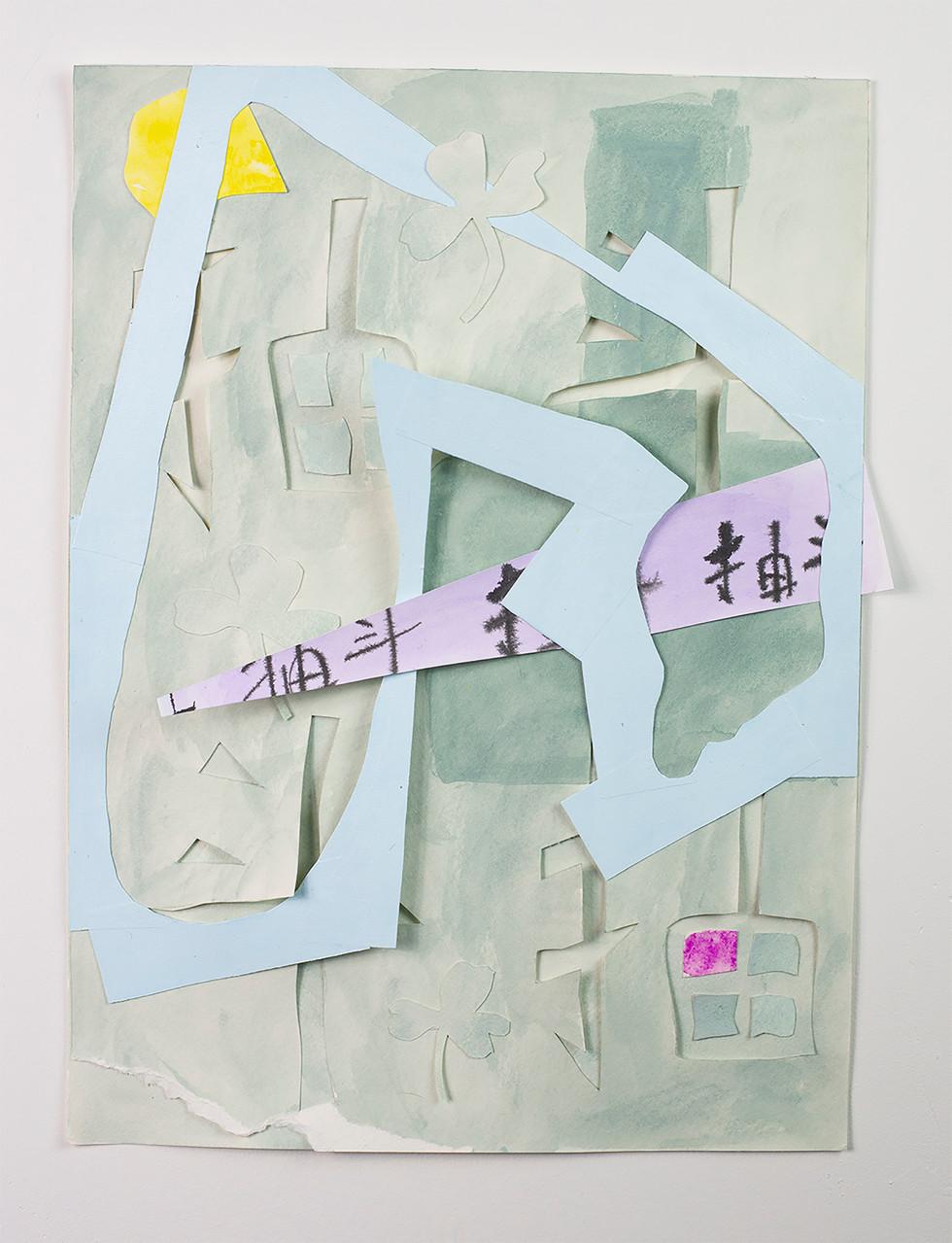 Acrylic gouache, acrylic, paper, masking tape on yupo paper.