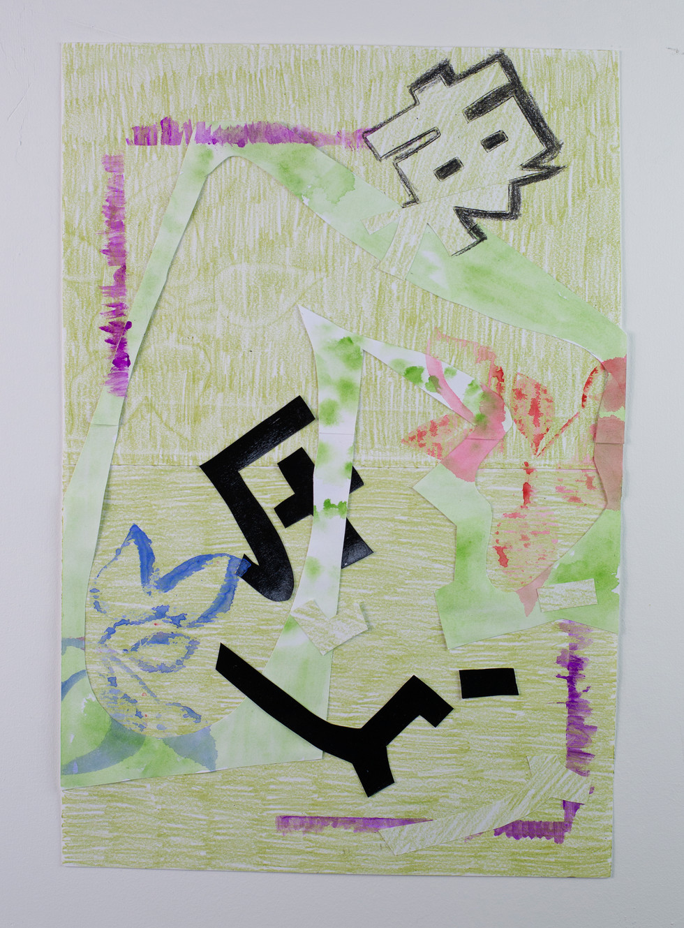 Crayon, watercolor, acrylic, acrylic gouache, paper cut outs on paper