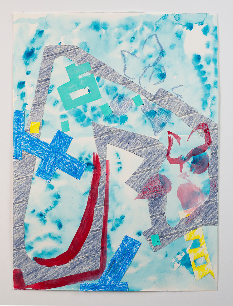 Watercolor, crayons, acrylic gouache, masking tape, paper collage on watercolor paper.