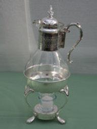 Glassware - Glass & Silver Coffee Decanter w/ tea light